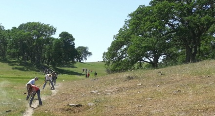 Trail work by volunteers on the Deer Creek Hills Preserve near Rancho Murieta.