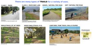 There are a variety of trail surface types for a variety of uses. These are some examples for the local area.