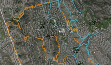 Map for trail network proposal for the El Dorado Hills community.