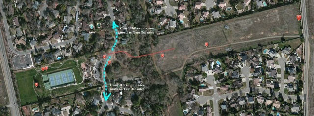 Aerial photo of bike project within the power corridor.