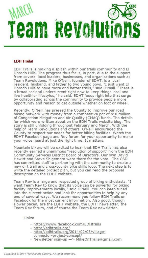 Team Revolutions newsletter, March 2014