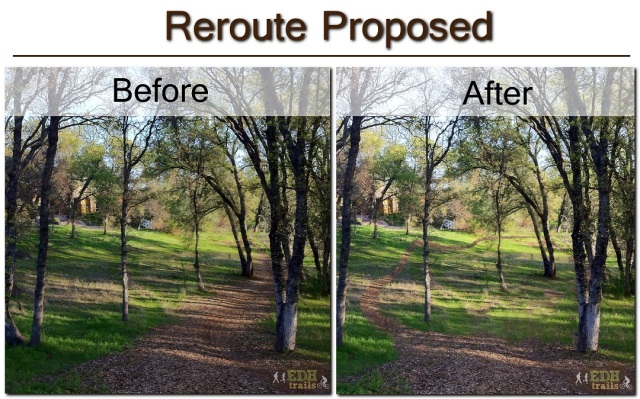 Trail reroute proposal illustrated