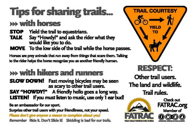FATRAC tips for sharing trails