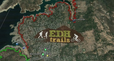 Map of trails along Folsom Lake near El Dorado Hills