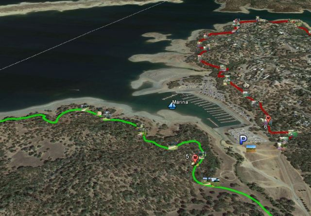 Google Earth map of trails nearby El Dorado Hills within the Folsom Lake State Recreation Area.